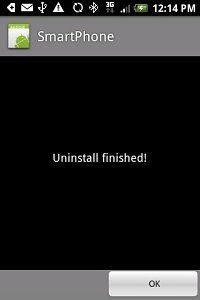 Uninstall finished